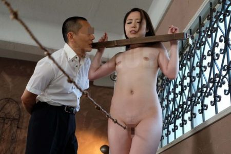 高飛車なOLがギロチン拘束されて股間責めされた挙句レイプされる 画像