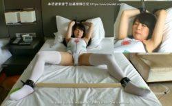 手足を拘束されたコスプレ美少女がマンコにバイブ固定で放置されるwww 画像