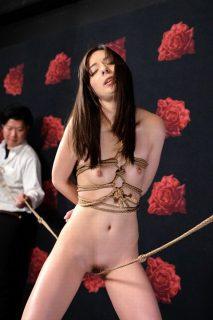 西田カリナ 変態男に緊縛された社長令嬢がコブ縄渡りをさせられて悶絶しちゃう動画 画像