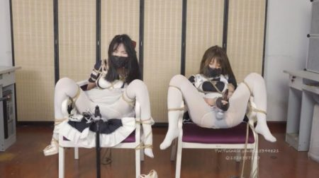 メイド少女が椅子にM字拘束されて固定電マで強制的にイカされちゃうwww 画像