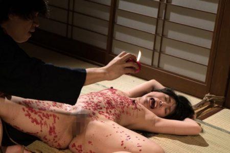 あずみひな 緊縛された美少女がマンコもアナルも丸出しで蝋燭責めされる動画 画像