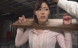 ギロチン拘束された美女が鼻フックされて恥ずかしい豚鼻を晒しちゃう動画 画像