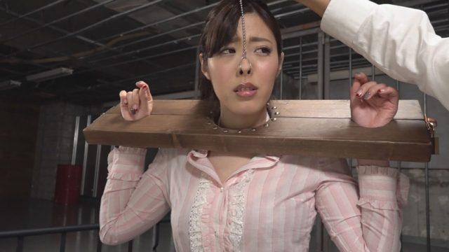 ギロチン拘束された美女が鼻フックされて恥ずかしい豚鼻を晒しちゃう動画