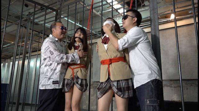 監禁された女子校生が拘束されて下着姿に引ん剝かれちゃう動画